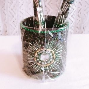 Other - Beaded Pen Pot Set of 2 Green Beaded Pens